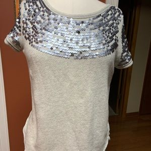 Aerie grey sequined short sleeved sweater